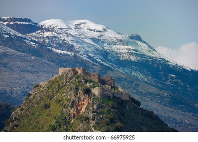Mystras Castle, and Taygetus mountain