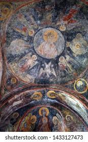 MYSTRAS, GREECE  CIRCA MAY 2019 Frescos on the dome church