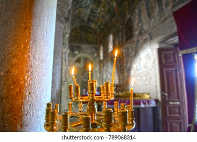 Mystras Lakonia, Greece- August 29, 2015: Interior of the 13th century Byzantine church of Agios Dimitrios at Mystra, Peloponnese, Greece. UNESCO World Heritage
