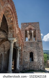 "MYSTRAS, PELOPONNESE, GREECE - JULY  28, 2019: Hagia Sophia church in the medieval, byzantine ""castletown"" of Mystras, close to Sparta town, Lakonia, Peloponnese."