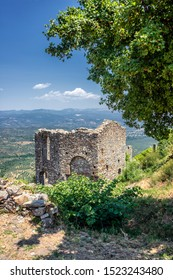 "MYSTRAS, PELOPONNESE, GREECE - JULY  28, 2019: Ruins beside the Hagia Sophia church in the medieval, byzantine ""castletown"" of Mystras, close to Sparta town, Lakonia, Peloponnese."