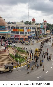 Mysuru,Karnataka/India-September 21 2017; A Beautiful Scene of Royal Elephants  walking Majestically in the Cityscape of Mysuru during Dasara Rehearsal in Karnataka/India.