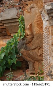 Mythical bird statue on temple exterior  at In Dein,  Inle Lake,  Myanmar (Burma)