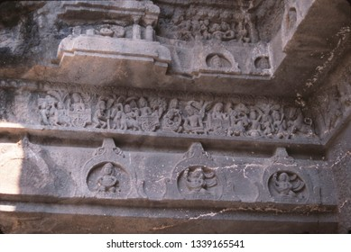 Mythical creatures on base of temple plinth, Ajanta, India