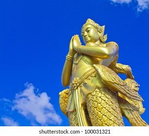 Mythical female bird with a human head in bangkok thailand