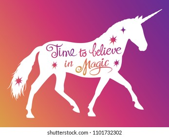 Mythical rebellious unicorn silhouette with positive phrase lettering magic. illustration