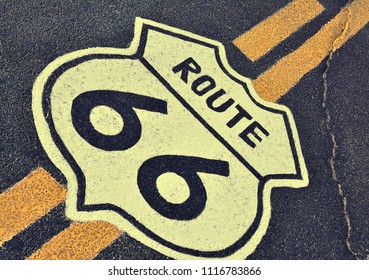 The mythical Route 66 sign in California, USA.
