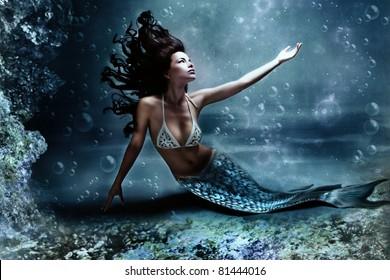 mythology being, mermaid in underwater scene, photo compilation