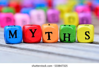 Myths word on wooden table