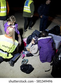 Mytilini, Lesvos, Greece, 23-February-2016: Night arrivals refugees at Lesvos. After they flee from their home country. They travel from Turkey to Greece to get to Europe.