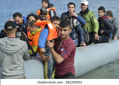 Mytilini, Lesvos, Greece, 25-February-2016: Refugees arriving at Lesvos. After they flee from their home country. They travel from Turkey to Greece to get to Europe.