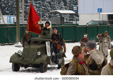 """Mytishchi district, village of Sholokhovo, Russia. December 8, 2018. Military-historical reconstruction """"Battle of Moscow. Counterattack"""""""