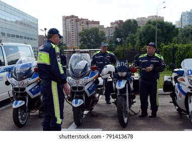 MYTISHCHI, RUSSIA - AUGUST 12, 2017: Inspectors of the road police patrol service stepped into the outfit.