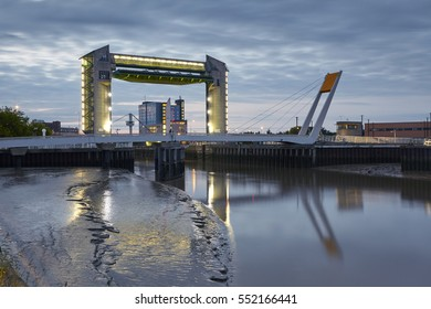Myton Bridge and Tidal Barrier at the the redeveloped Sammy's Point crossing the River Hull in Kingston at dusk