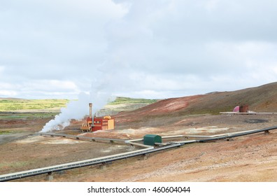 Myvatn, Iceland - July 8, 2016: The Krafla geothermal power plant. Krafla geothermal power plant is a geothermal, which is located in Iceland, close to the Krafla Volcano and the lake Myvatn.