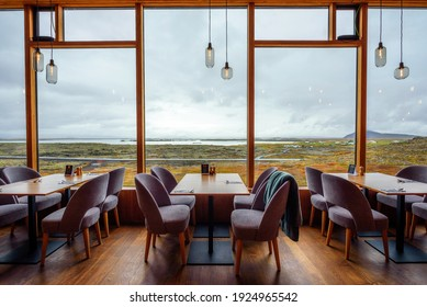 Myvatn, Iceland - September 10, 2019 : Restaurant interior of Fosshotel Myvatn, a four-star hotel in Skutustadahreppur, located near a lake on the Ring Road in Iceland.
