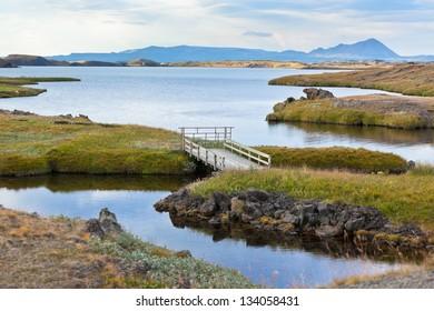 Myvatn Lake landscape at North Iceland. Horizontal shot