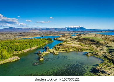 Myvatn Lake landscape at North Iceland. View from above