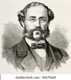 N. A. Katziepoulos old engraved portrait (exponent of Greek insurrectionist movement and General Secretary of provisional government). Created by Chenu, published on L'illustration, Paris, 1863