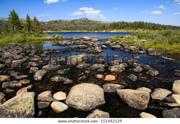 n alpine lake, Island Lake in the Bear Tooth Mountain range between Red Lodge and Cooke City Montana.