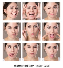 n Collage of a young brunette woman making faces with different expressions and emotions