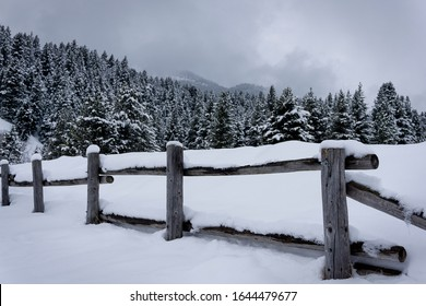 n old wooden fence decides a snow covered meadow in the Wasatch Mountains above American Fork Canyon.