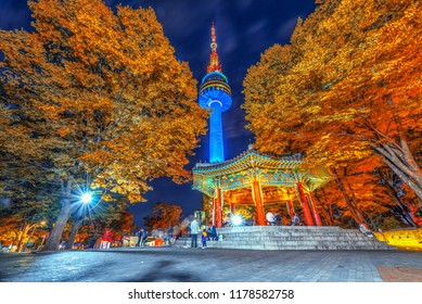 N seoul tower and chinese pavilion in autumn at night, Seoul city, South Korea