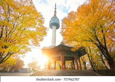 N seoul tower and chinese pavilion in autumn with morning sunrise, Seoul city, South Korea