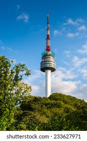 N Seoul Tower, or Namsan Tower, and the blue skies above Seoul
