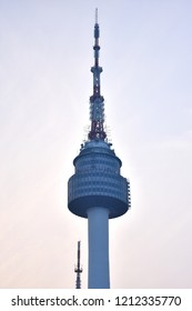 N Seoul Tower on twilight time was the first tower-type tourism spot operated by CJ Foodville since 2005,as a broadcast tower to send out TV and radio signals in 1969.Seoul,South Korea,Oct 25,2018.