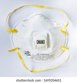N95 respirator face mask for coronavirus control, isolated on white with clipping mask.