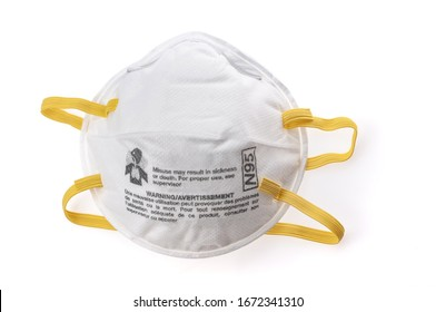 N95 Respirators and Surgical Masks (Face Masks). White medical mask isolate. Face mask protection against pollution, virus, flu and coronavirus. Health care and surgical concept.