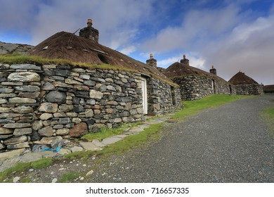 Na Gearrannan Blackhouse Village, Isle of Lewis, Outer Hebrides has nine restored thatched cottages which was occupied until 1974.