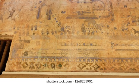 NA HAEO, LOEI, THAILAND - CIRCA DECEMBER, 2018: 400-year-old antique painting on the wall of the temple of Wat Pho Chai, Na Haeo District, Loei Province