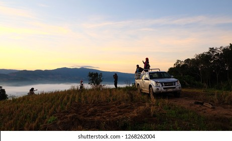 NA HAEO, LOEI, THAILAND - CIRCA DECEMBER, 2018: Tourists are watching the morning mist on Phu Kho, Na Haeo District, Loei Province.