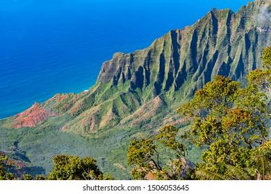 Na Pali Coast from the Kalalau Lookout at Kokee State Park, Kauai, Hawaii, United States
