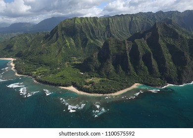 Na Pali Coast in Kauai Hawaii from helicopter