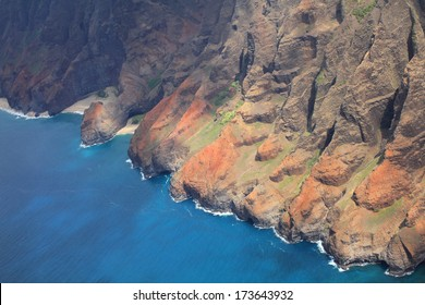 Na Pali coast, Kauai island of Hawaii. View from helicopter
