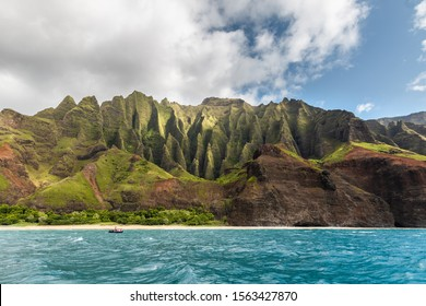 Na Pali coast mountain ridges and ocean in Hawaii