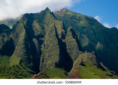 Na Pali Coast from the water in Kauai, Hawaii