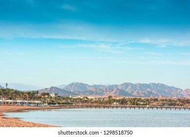 Naama Bay and Red Sea. Sharm el-Sheikh, Egypt - 2019. Sunny resort beach with palm tree at the coast shore of Red Sea in Sharm el Sheikh, Sinai, Egypt,  Bright sunny light. Sun umbrellas on the beach.