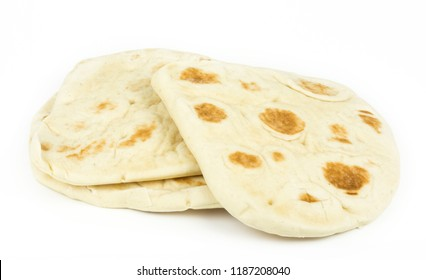naan Indian bread isolated on white background