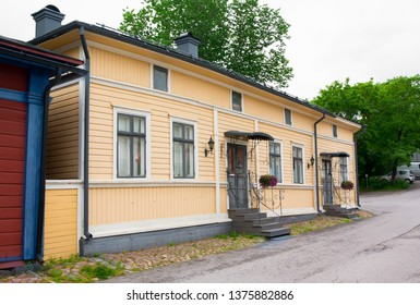Naantali, Finland - 07 July , 2015: Cloudy summer day on the historic quarter of Naantali