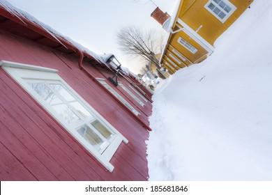 NAANTALI, FINLAND - DECEMBER 23, 2012: Wintertime street view in Naantali, Finland.
