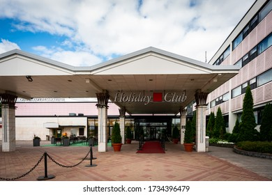 NAANTALI, FINLAND - JULY 13, 2016: Facade front view of the entrance to the famous spa hotel Holiday Club in Naantali Finland July 13, 2016.