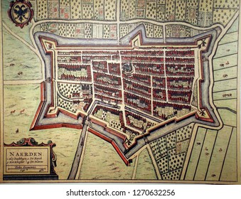 NAARDEN, NETHERLANDS - DEC 13, 2018 - Vintage map of the fortified town of Naarden, Netherlands