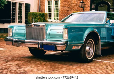 NAARDEN, THE NETHERLANDS. OCTOBER 2017. Front of a vintage 1970´s light blue Lincoln Continental. Editorial use only.