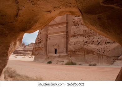 Nabatean tomb in Madain Saleh archeological site, Saudi Arabia.