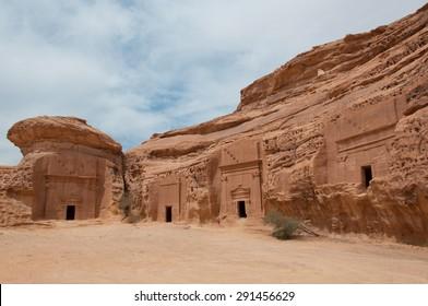 Nabatean tombs in Madain Saleh archeological site, Saudi Arabia.