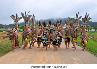 Nabawan Sabah Malaysia - 20 May, 2016 : A group of dancers dressed in traditional Murut costume in a harvest festival.